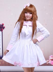 Хлопок розовый и белый Sailor Лук хлопок школы Лолита платье