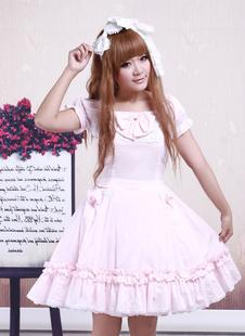 Хлопок розовый кружевной Короткие рукава Cosplay Лолита платье