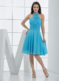 Платье для свидетельницы A-силуэт с бретелькой через шею синее до колен из шифона со складками