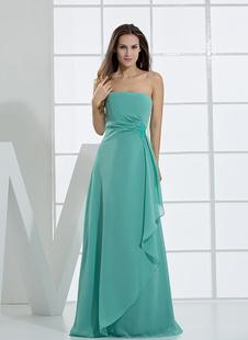 Платье для свидетельницы A-силуэт без бретелек зеленое до пола из шифона с вертикальной оборкой