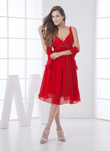 Красный невесты платье без спинки Rhinestone ремни шифоновое платье