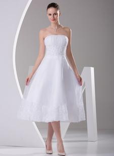 A-Linie-Brautkleid aus Satingewebe und trägerlosem Design und Pailletten wadenlang und Weiß