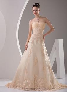 Brautkleid aus Satin mit Herz-Ausschnitt in Champagnerfarbe