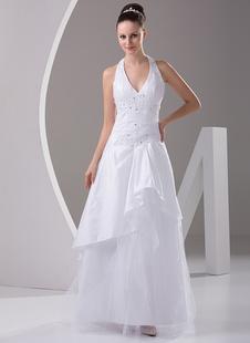 A-Linie-Brautkleid aus Taft mit V-Ausschnitt und Deko-Applikation bodenlang in Weiß