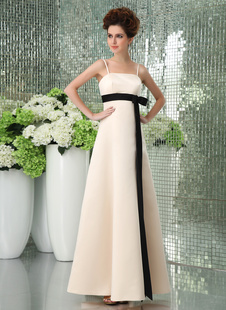 Romantic Spaghetti Sash Floor Length Satin Gold Champagne Bridesmaid Dress