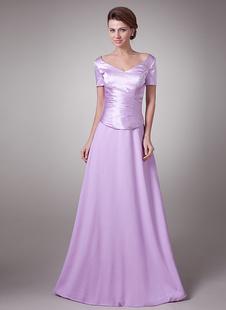 Vestito per la madre della sposa in raso elastico a pieghe a terra