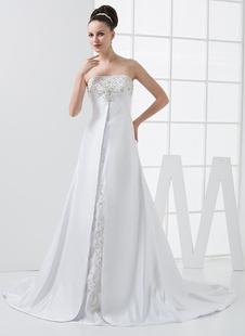 Robe de mariée blanche d'A-linge et ceinture haute sans écharpe en satin avec perle