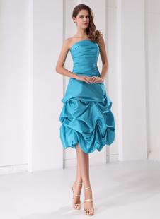 Robe de bal de finissants bleue plissée sans bretelles