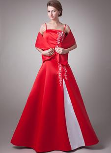 Vestito per la madre della sposa rosso in raso ricamato