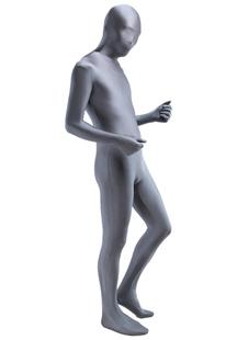 Классический серый Зентай Костюм Хэллоуин Лайкра спандекс полное тело Костюм Хэллоуин
