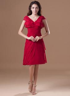 Красный каскадных рябить v-образным вырезом длиной до колен шифон коктейльное платье