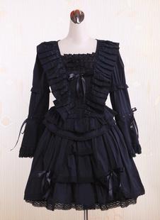 Черная Белла нижний рукава кружево хлопок готическом платье Лолиты