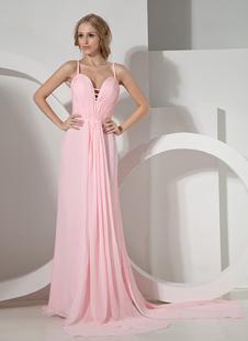 Розовый оболочка спагетти шифон женщины вечернее платье