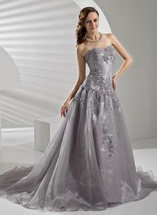 A-Linie-Brautkleid aus Organza mit Herz-Ausschnitt mit Pailletten und Hof-Schleppe in Silbern