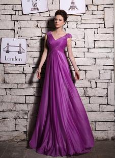 Элегантный сиреневый выстрел шёлк бисером-Line рукавов платье вечернее Milanoo