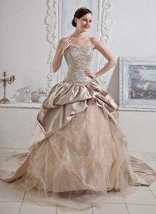 Robes de mariée Champagne bretelles robe de bal paillettes perles ruché chérie robe de mariage cou tribunal