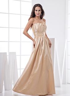 Платье для свидетельницы без бретелек шампанского цвета до пола из тафты