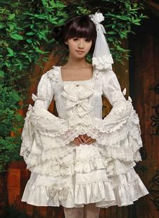 Чистый белый Лолита цельный платье длинные Hime рукава кружевной отделкой Луки