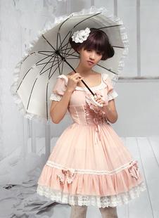 Сладкий лук розовый короткие рукава шифон Лолита цельный