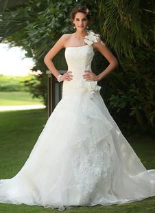 Свадебные платья Одно плечо Свадебные платья Цветы Плиссированные стороны Драпированные кружева органзы Sequin бисера поезд свадебное платье