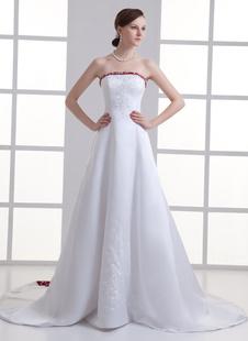Brautkleid aus Satin mit Pailletten in Weiß