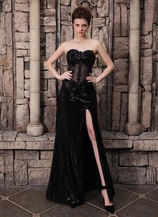 См черная свадебное платье через Лиф кружева аппликация высоким Сплит блестками юбка Milanoo