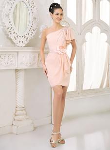 Румяна розового персика платье невесты шифон вышитый бисером платье для коктейля одно плечо Ruffled Sheath короткое платье партии Milanoo