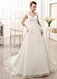 Онлайн возлюбленной часовни поезд аппликация Кот невесты свадебное платье с возлюбленной Спагетти шейный ремешок  Milanoo