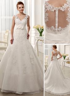 Онлайн возлюбленной часовни поезд цветок слоновой кости невест тюль свадебное платье с v-образным вырезом  Milanoo