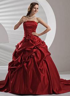 Robe de mariée A-ligne bordeaux en satin bustier traîne courte