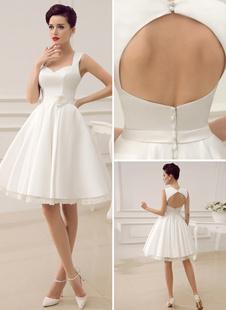 Короткие свадебные платья Атласное винтажное свадебное платье королевы 1950-х годов Milanoo