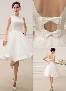 Короткое свадебное платье Винтажное свадебное платье 1950-х годов Бато без рукавов Свадебное платье для приемов Milanoo