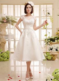 Short Wedding Dresses Ivory Lace Applique Vintage Bridal Dress Illusion Sweetheart Open Back Tea Length Wedding Reception Dresses Milanoo