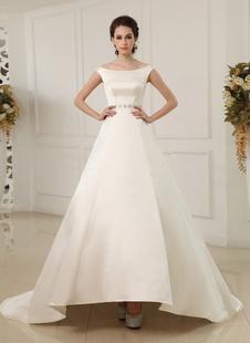 Трапеция-плечу бисером слоновой кости свадебное платье с вырезом Бато  Milanoo
