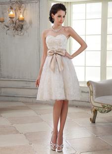-Милая шеи-Line блестками слоновой кости свадебное платье Milanoo
