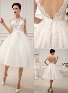 Short Wedding Dresses Vintage 1950's Bridal Gown Backless Lace Beading Pleated Sequins Illusion Wedding Reception Dress With Milanoo