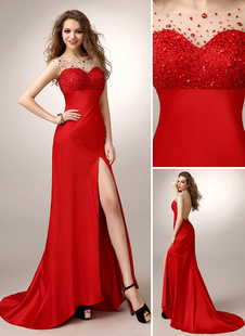 Ballkleider Mermaid- Ball kleider Rot Hochzeit Elastische Kunstseide Abendkleider ärmellos Formelle Kleider und Bateau-Kragen natürliche Taillenlinie