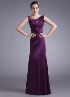 Abbigliamento da sera attillato senza spalline con perline a terra in satin elastico