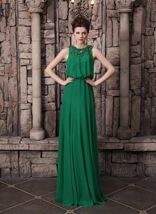 Очаровательный темно зеленый Jewel шеи блесток платье без рукавов вечернее платье Milanoo