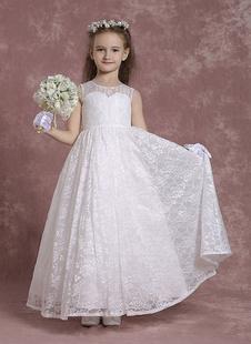 Платье для девочек из кружевной ткани Линейная вырезка Платья Платье для малышей из слоновой кости
