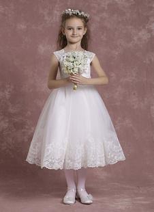 Слоновой кости цветок девочки платья A линии тюль Pageant платья малыша кружева чай длина формальных платья