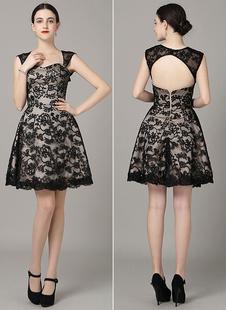 cf14255b0513 Mini Backless Prom Dress Sweetheart nero pizzo Applique abito da Cocktail  Milanoo