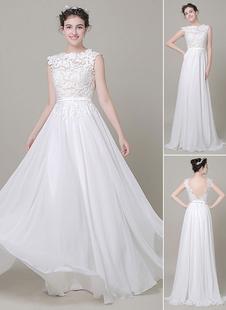Шифон Свадебное платье Bateau Lace Satin Sash Floor Length A Line summer Bridal Dress