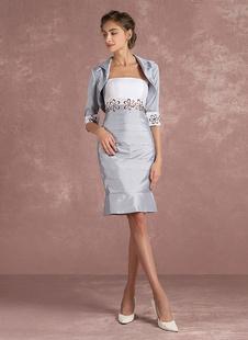 Мать невесты платье Серебряный тафты платье из атласа 2 шт вышитые короткое платье