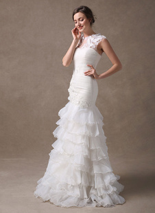Vestido de novia de organza con escote redondo y flor Milanoo