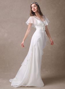 Vestido de novia con cuello en V y manga mariposa  Milanoo