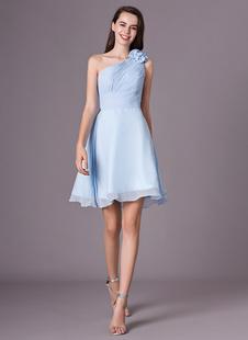 A-Linie-Brautjungfernkleid mit Einschulter in Hellblau