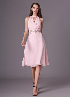 Brautjungfernkleid aus Chiffon mit V-Ausschnitt in Rosa