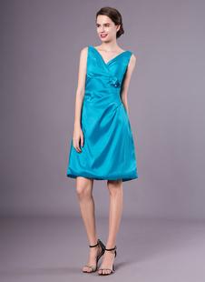 Brautjungfernkleid aus Taft mit V-Ausschnitt in Blau