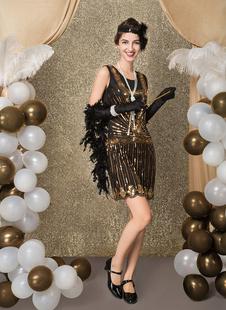 Carnevale Vestiti Anni 20 per donne in tessuto con lustrini Vestito Flapper Nero Costumi Retro halloween mini/corte Costume Taglia Forte Halloween